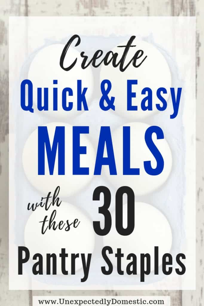 Create inexpensive and quick meals with these cheap food staples. This list of frugal pantry staples on a budget will help you make dinner fast!