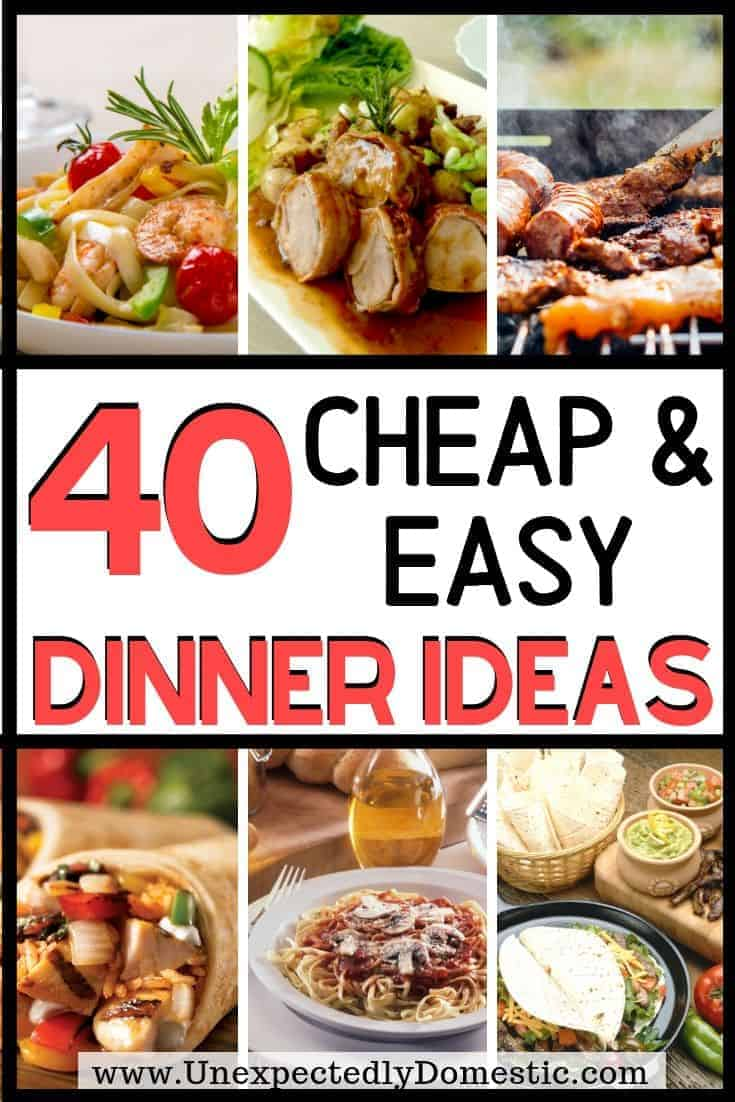Check out these 40+ easy dirt cheap meals to make when you're on a budget. Here's the cheap food to buy when you're broke!