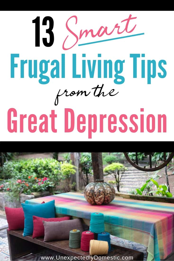 Learn how to be frugal with these frugal living tips from the Great Depression! These ideas for living cheaply and saving money still apply today!