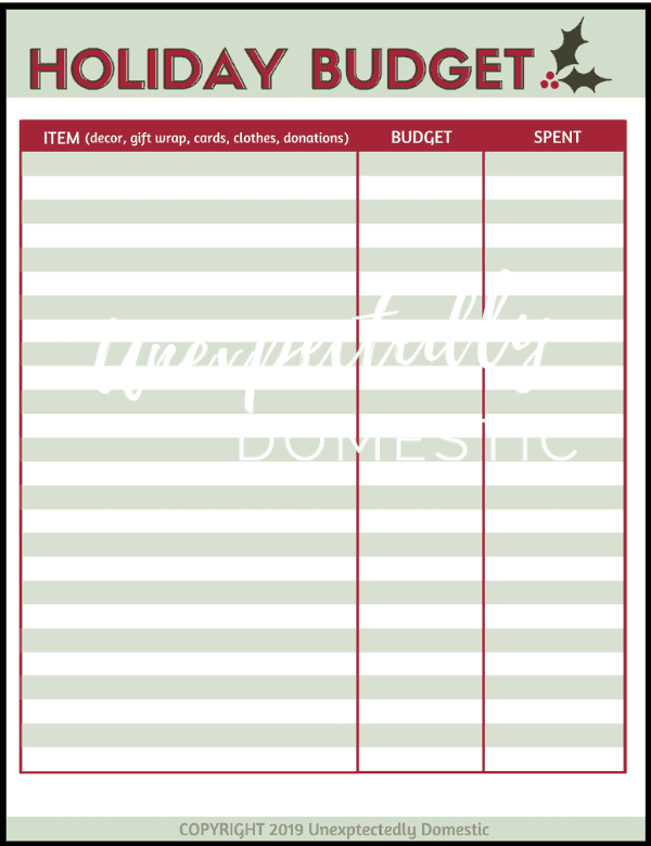 Grab your FREE printable Christmas Budget Worksheet! Keep track of you're spending so you don't go overbudget with this festive template!