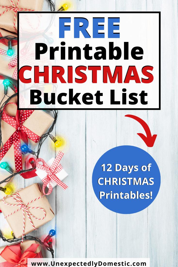 Free Printable Christmas Bucket List