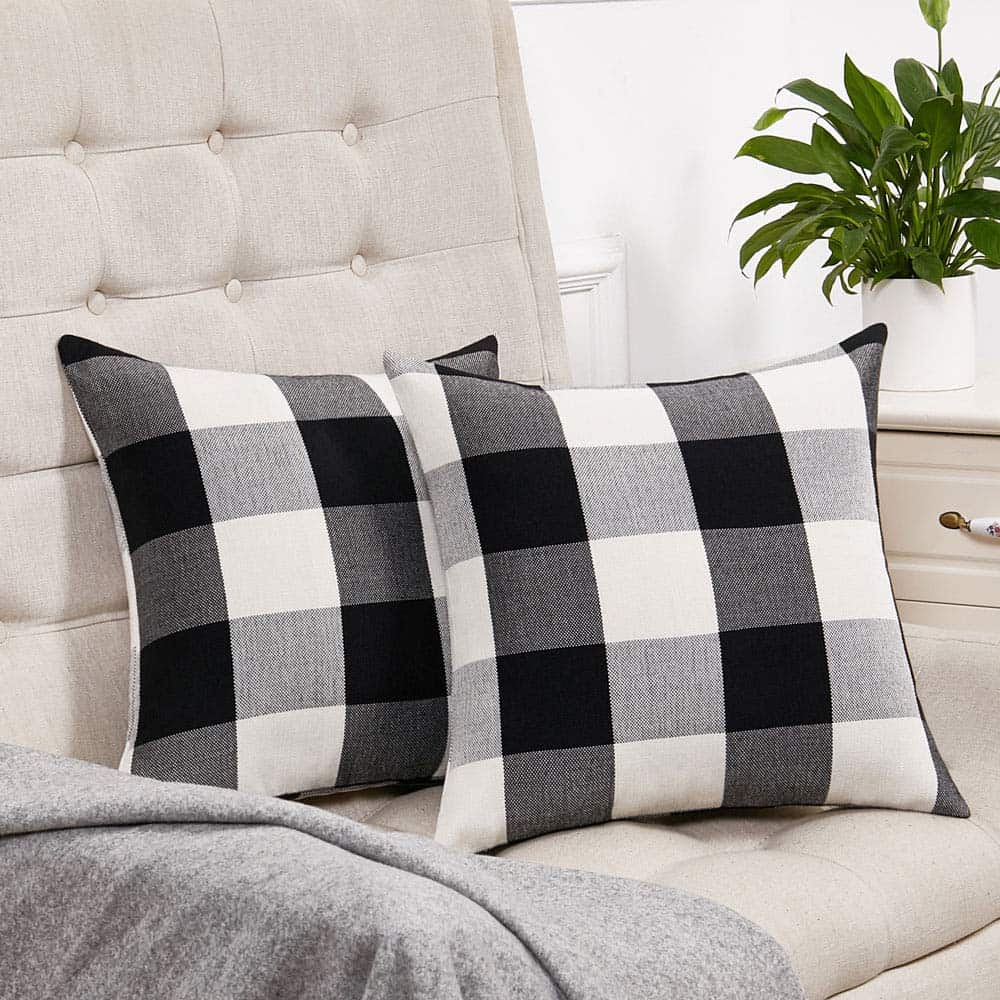 Cozy farmhouse black and white buffalo check home decor! Spruce up your kitchen, living room, or bedroom, or add some buffalo plaid fall decor to your home.