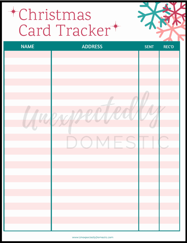Be sure to grab this free printable Christmas card tracker! It makes it SO easy to organize all your Christmas card details!