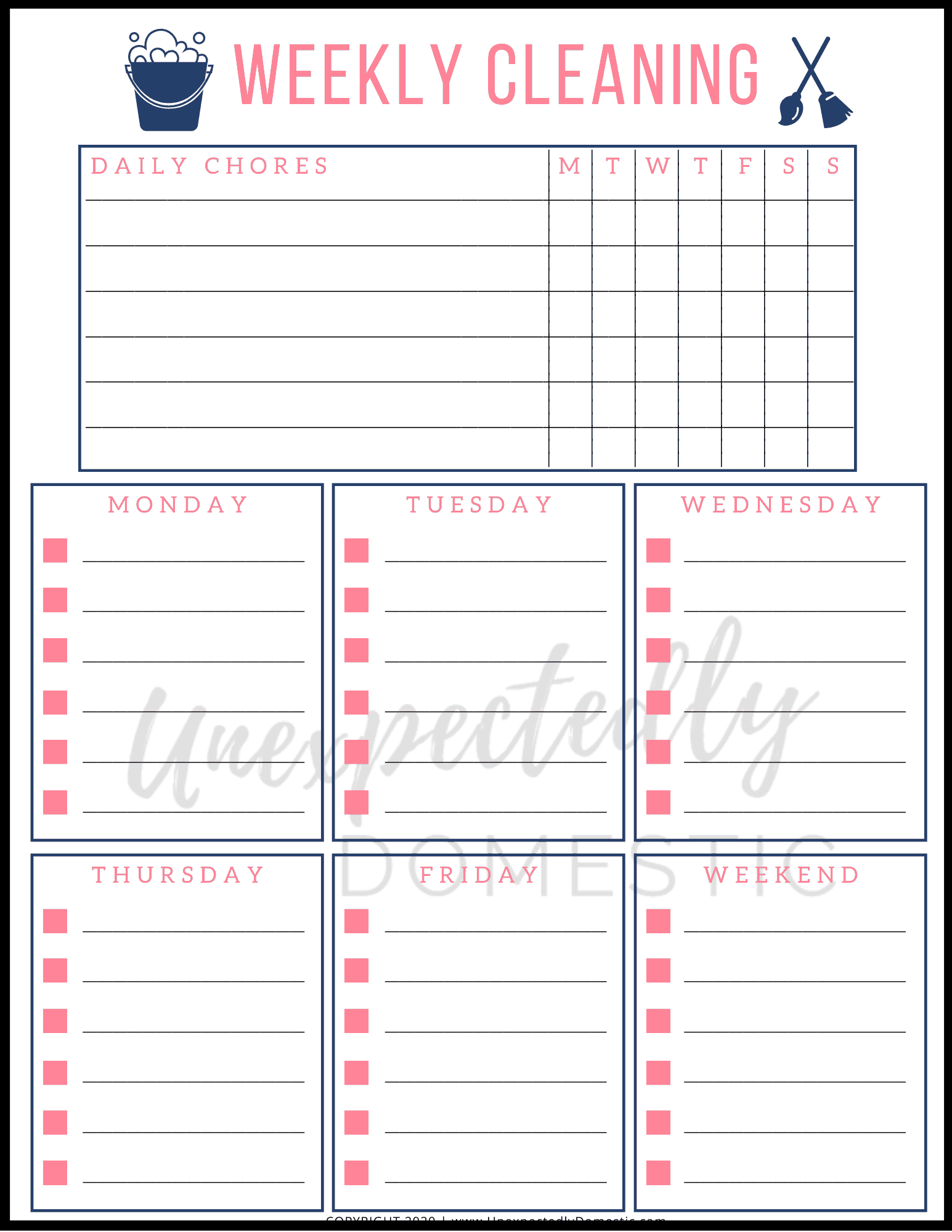 Easy weekly cleaning schedule! This simple weekly house-cleaning routine is a realistic schedule that walks you through what to clean and when, room by room. Free printable blank cleaning schedule template included!
