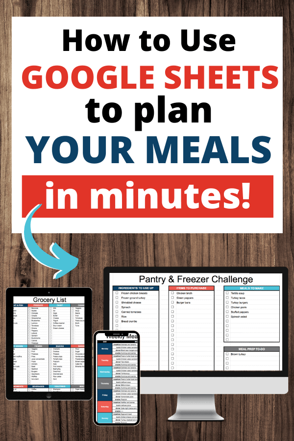 A Google Sheets meal planner, plus editable grocery list template! How to use a meal planning spreadsheet to plan your weekly menu in minutes.