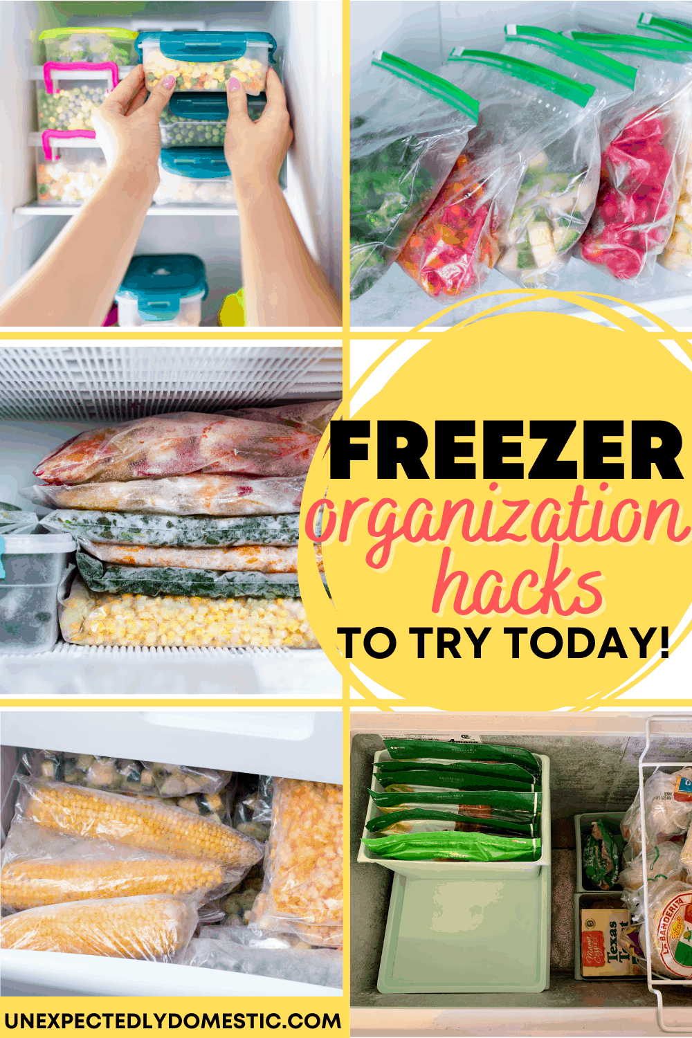 How to organize your chest freezer with baskets and dividers. Deep freezer organization tips and tricks on a budget!